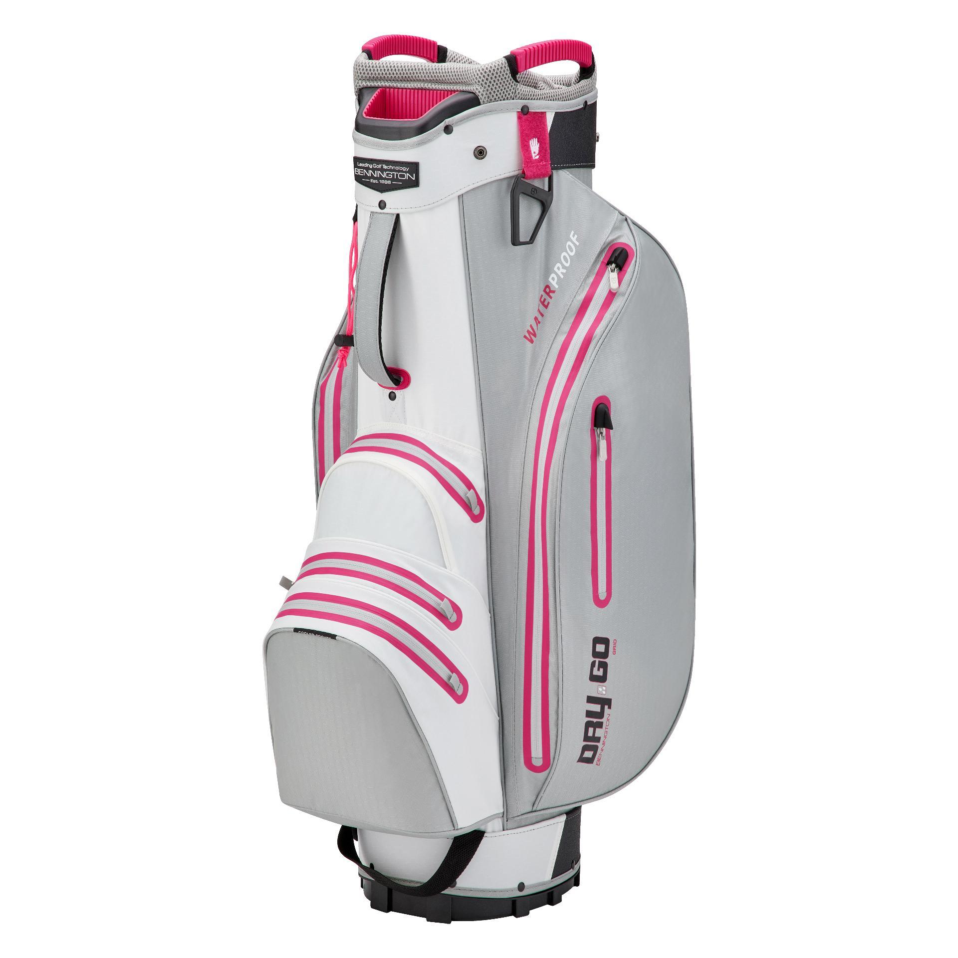 Dry 14 GO Waterproof Cartbag, silber/weiß/pink